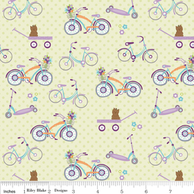 Dress Up Days - Bikes in Green - by Doohickey Designs for Riley Blake - 1 Yard